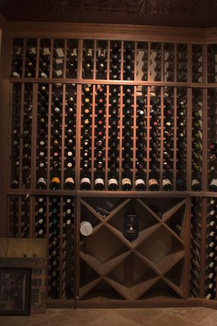 Contemporary Wine Cellar with Designer Series 132-Bottle Half Height Diamond Wine Bin and Rack - Dark Walnut Stain