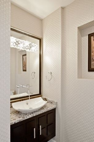 Contemporary Powder Room with Complex marble counters, interior wallpaper, Powder room, Inset cabinets, Complex Marble