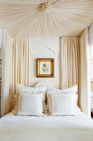 Traditional Master Bedroom with Pottery Barn Belgian Flax Linen Diamond Quilt, Fabric Ceiling