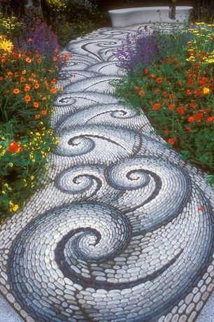 Eclectic Landscape/Yard with Pathway, Custom tile mosaic, Greek wave tile, Pebble floor