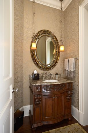 "Traditional Powder Room with Graham & Brown - Province Cream Wallpaper, Bosconi Classic 32"" Single Vanity Set"