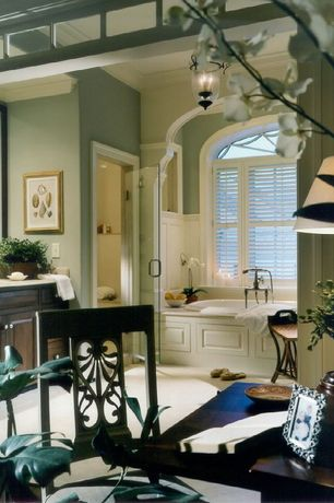 Traditional Master Bathroom with Inset cabinets, Crown molding, Master bathroom, Carpet, Chandelier, frameless showerdoor
