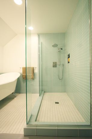 Contemporary Master Bathroom with Frameless Shower Doors By Dulles Glass and Mirror, Surf Glass Subway Tile