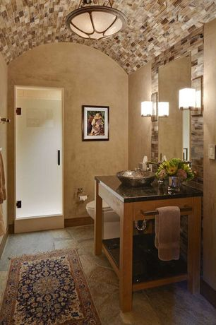 Mediterranean 3/4 Bathroom with Powder room, Quartz counters, flush light, terracotta tile floors, Vessel sink, Console sink