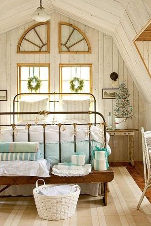 Cottage Guest Bedroom with Pottery barn toscana bench, Pottery barn coleman bed, Exposed beam, flush light, Casement, Paint