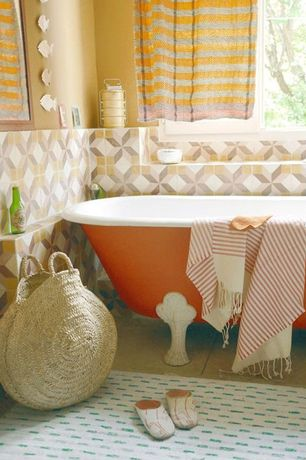 Contemporary Full Bathroom with Stand alone Victorian bathtub, Clawfoot, Decorative wall tile