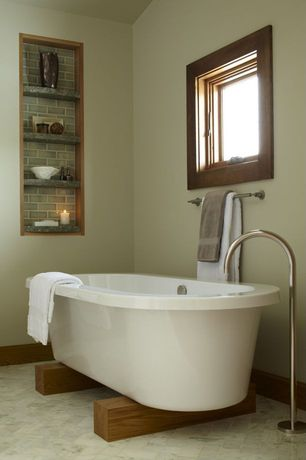 Contemporary Full Bathroom with Standard height, Clawfoot, Bathtub, Master bathroom, Built-in bookshelf, Paint 1, Casement