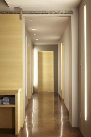 Contemporary Hallway with Concrete floors, can lights, High ceiling, flat door