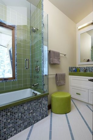 "Contemporary Full Bathroom with Steelcase campfire ottoman, Daltile marvel: mystique 5/8"" x 5/8"" glass mosaic tile"