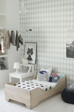 Contemporary Kids Bedroom with Vintage two-tier side table, Painted wood floor, Ferm living- harlequin wallpaper