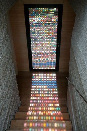 Contemporary Front Door with Stainglass door, Armin Blasbichler Custom Stained Glass Mosaic Window in South Tyrol