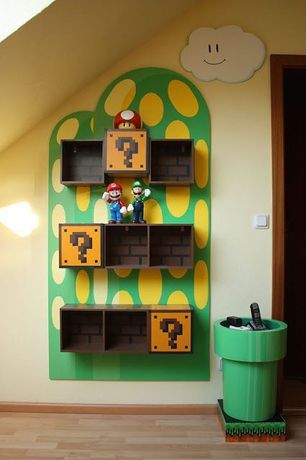 "Contemporary Kids Bedroom with Hardwood flooring, Framed Mario Question Mark Block 10x10"". Wooden Frame"
