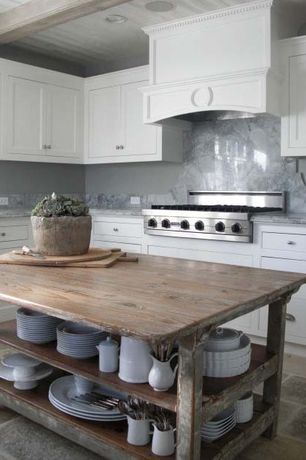 Cottage Kitchen with Complex marble counters, Kitchen island, Tile-stones.com cafe light travertine paver 12x24 tumbled