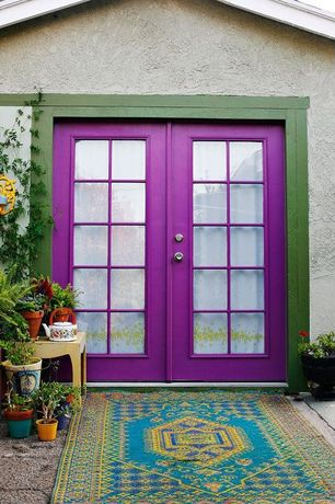 Eclectic Front Door with Exterior french doors