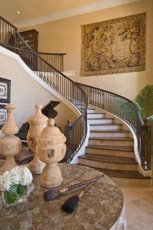 Traditional Staircase with Loft, curved staircase, can lights, Crown molding, High ceiling, travertine tile floors