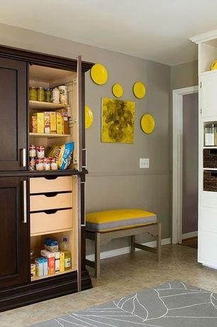 Contemporary Pantry with Built-in bookshelf, Ikea gislev area rug low pile modern carpet, OXO Square Pop Container, 4 Qt.