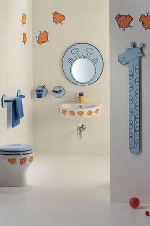 Contemporary Kids Bathroom with Concrete floors, Kids bathroom, Pedestal sink, Bagnocucciolo-Birdo Toilet