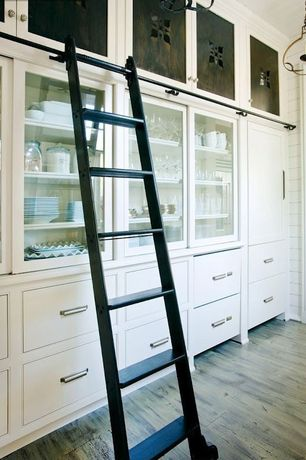 Contemporary Pantry with Paint, Shiplap walls, Rockler classic/vintage rolling library ladder - track hardware, satin black