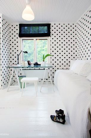 "Contemporary Home Office with Modern 60"" Glass Architect Desk, Warner - Black Small Dots Wallpaper"