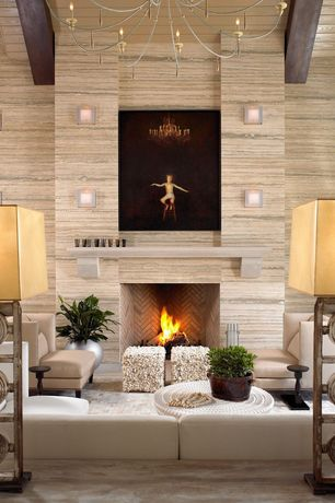 Contemporary Living Room with Three Ring 30-inch High Table Lamp, Chandelier, Elan Lighting Colson Wall Sconce, Wall sconce