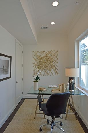 Contemporary Home Office with picture window, Standard height, Coaster world map writing desk in nickel, Carpet, flat door