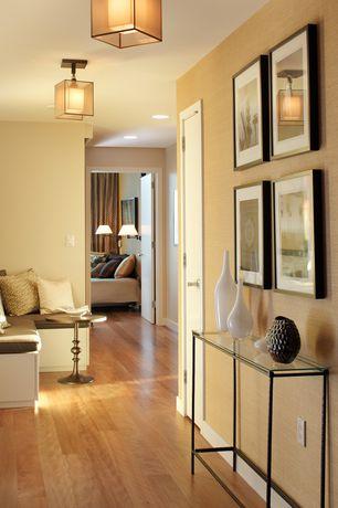 Contemporary Hallway with flush light, Hardwood floors, Standard height, flat door