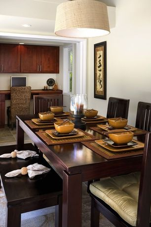 Modern Dining Room with Standard height, Arizona Tile, CLUB SERIES, Ceramic & Porcelain, double-hung window, Paint