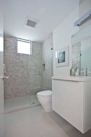Contemporary Full Bathroom with Rain shower, Hakatai- glass tile (blue desert), wall-mounted above mirror bathroom light