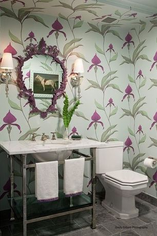 Contemporary Powder Room with Simple marble counters, Undermount sink, Powder room, Wall sconce, Orchid wallpaper