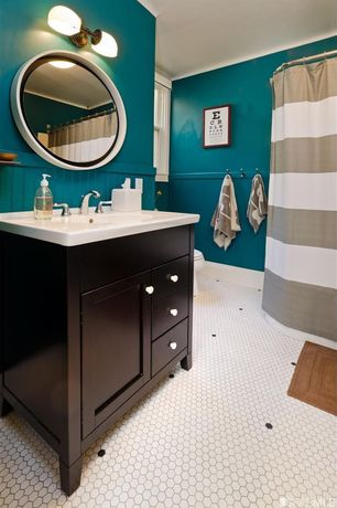 Contemporary Full Bathroom with Nautica guardhouse stripe neutral cotton shower curtain, double-hung window, Shower, Paint