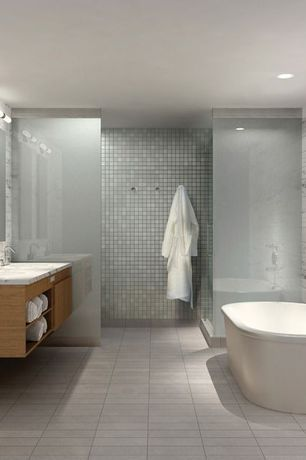Contemporary Full Bathroom with Complex marble counters, Freestanding, Double sink, Frameless, Master bathroom