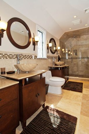 Modern 3/4 Bathroom with Inset cabinets, Signature Hardware - Round Polished Travertine Vessel Sink, Vessel sink, Chair rail