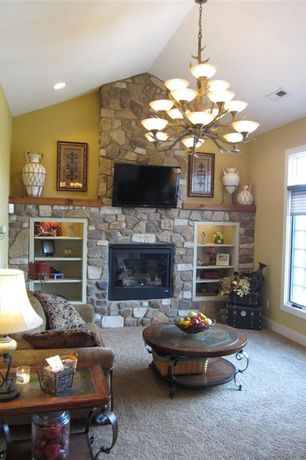 Traditional Living Room with metal fireplace, Casement, Fireplace, Standard height, insert fireplace, stone fireplace, Carpet
