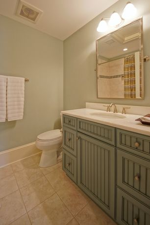 Cottage Full Bathroom with Standard height, Paint 1, Paint 2, wall-mounted above mirror bathroom light, Powder room