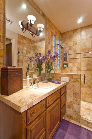 Rustic Full Bathroom with Raised panel, Powder room, specialty door, Kitchen Craft. marquis cabinet door, Carpet, Stone Tile