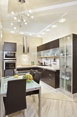 Contemporary Kitchen with Pendant light, European Cabinets, Breakfast nook, Flush, Box ceiling, Simple Marble, L-shaped