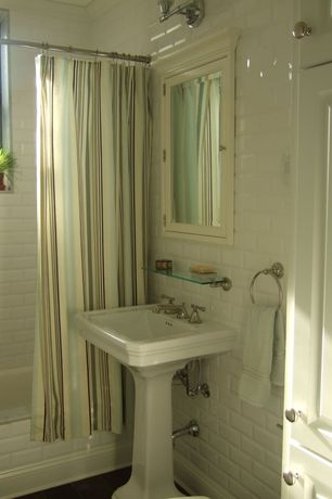 Traditional Full Bathroom with Crown molding, Raised panel, Kacy pedestal sink, Chesapeake Glass Bathroom Shelf, Flush