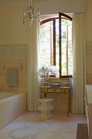 Eclectic Master Bathroom with Valance, Wainscoting, Stone medallion, Crystorama Ashton Mini Chandelier in English Bronze