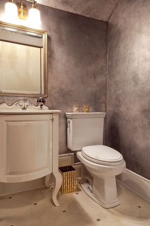 "Traditional Powder Room with Powder room, Shaw Floors Soho 12"" x 12"" Porcelain Tile in Gascogne Beige, Inset cabinets"