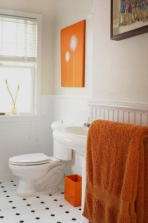 "Cottage Full Bathroom with Kohler revival elongated toilet, Kohler 24"" devonshire pedestal sink, Orange Dandelion pop art"