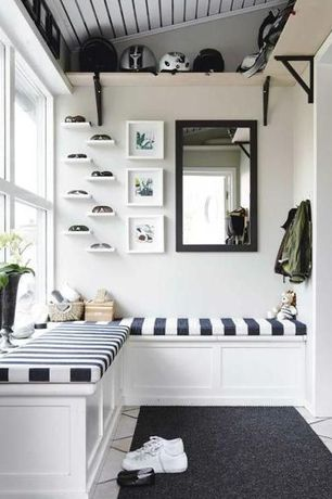 Contemporary Mud Room with PillowsCushionsOhMy Foam Bench Cushion - Black and White Stripe, Ikea Ekby Amund Shelf