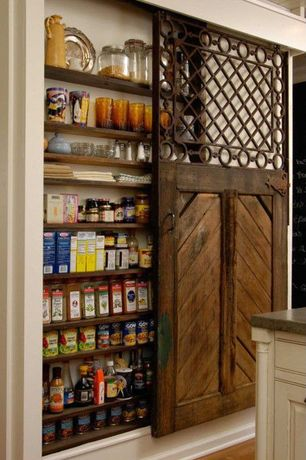 Craftsman Pantry with Cactus, Built-in bookshelf, Hardwood floors, Interior Sliding Door, Reclaimed Wood, Sliding door