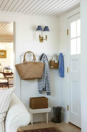 Cottage Mud Room with Glass panel door, Standard height, Beadboard ceiling paneling, Crate & barrel - wooden step stool