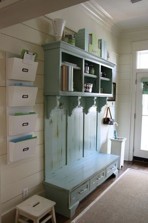 Cottage Mud Room with Smart Umbrella Stand White, Hardwood floors, Transom window, Pottery Barn Daily System Letter Bin