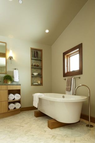 Contemporary Full Bathroom with Signature hardware glynne gooseneck freestanding faucet, Wall sconce, European Cabinets