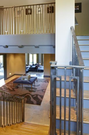Contemporary Staircase with Loft, High ceiling, Hardwood floors, Metal staircase
