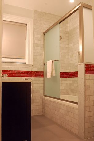 Contemporary 3/4 Bathroom with Daltile Opulence Ruby Flare Glass Mosaic, tiled wall showerbath, Concrete tile