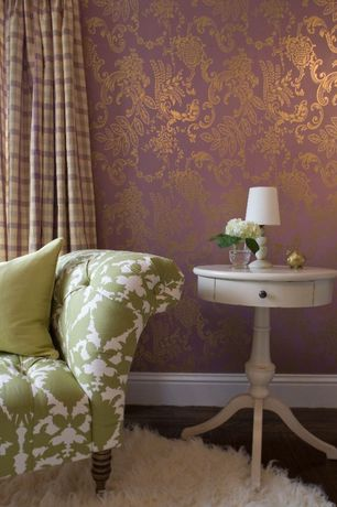Contemporary Living Room with Threshold double gourd lamp base, Paint 1, Powell round table, Flannel flower damask