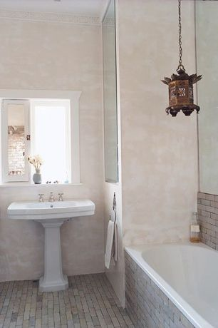 Contemporary Full Bathroom with Moroccan style, Bronze temple lantern, Pedestal sink