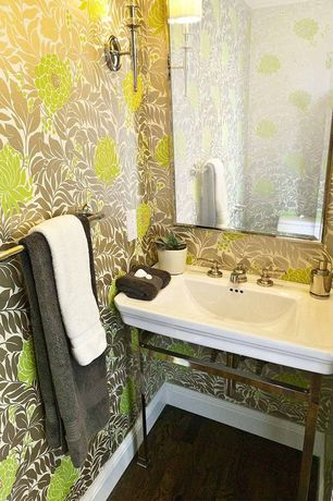 Contemporary Powder Room with Hardwood floors, interior wallpaper, Powder room, Console sink, High ceiling